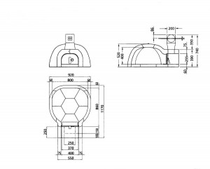 Grundriss Pizzaofen D80 Innendurchmesser 80cm